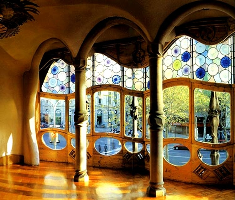 gaudi designer casa batllo stained glass view of