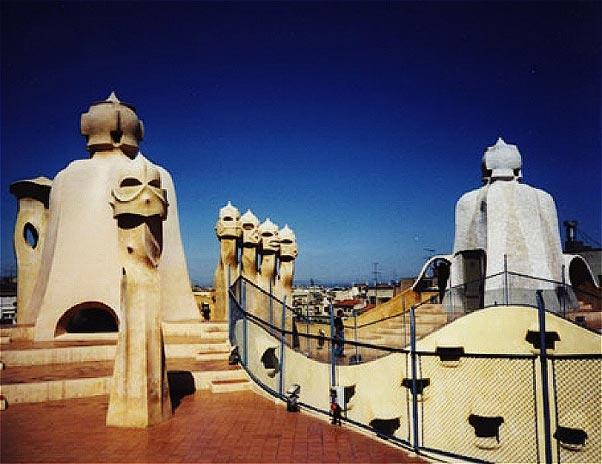 Barcelona, Spain, Visitors on the roof of Casa Mila |Casa Mila Roof
