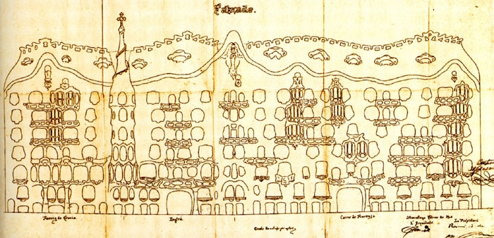 Gaudi Designer Casa Mila Gt Album Draft Of Elevation